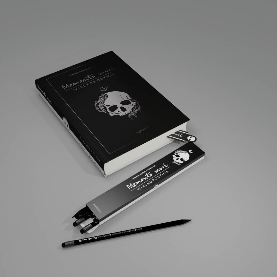 Memento mori + zestaw ołówków + zakładka