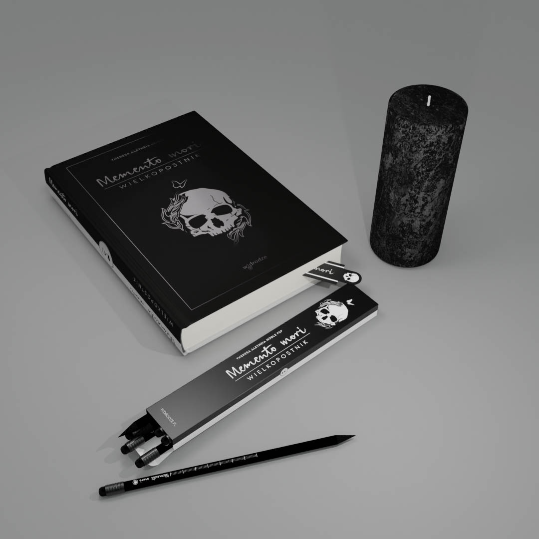 Memento mori + świeca + ołówki + zakładka
