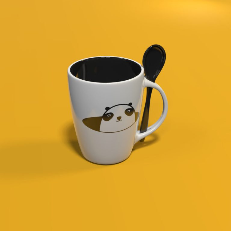 Panda: Kubek ceramiczny z łyżeczką
